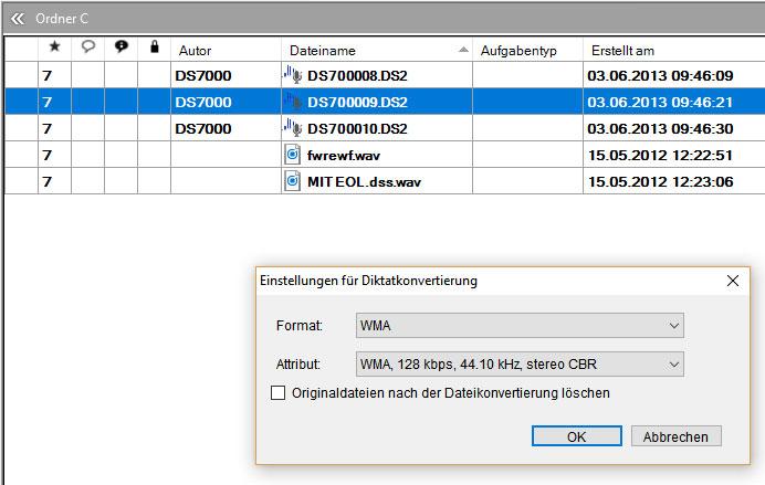 DSS-Dateien konvertieren mit Olympus ODMS