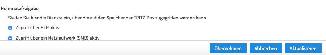 Fritz!Box-Verwaltungssoftware ftp-Zugriff