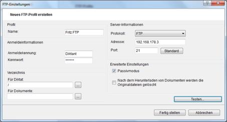 ODMS ftp account erstellen