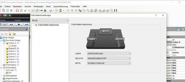 Olympus ODMS Transcription Module - Fußschalter-Einstellungen